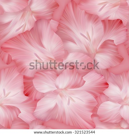 Lovely pink pattern with gladiolus heads. Original texture for design textile.  - stock photo