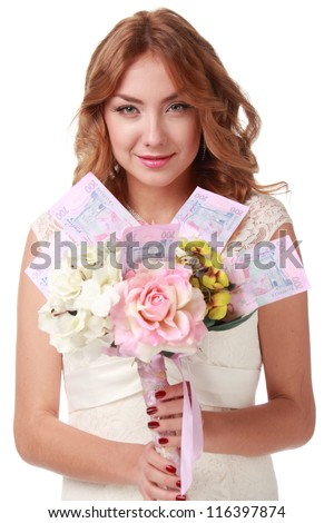 Lovely portrait of happy beautiful bride with floral and ukrainian money bouquet over white background/Smiley face of ukrainian bride