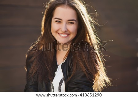 Lovely portrait of pretty smiling woman, happy stylish,glamour girl, long dark hairs, positive emotions, white teeth - stock photo