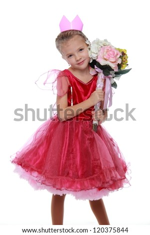 Lovely princess in bright dress with colorful flowers on a white background