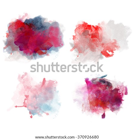 Lovely Red Watercolor Blobs. Set of Watercolor Splashes for design. Passion decor. Beautiful Paper Watercolor Backdrops with colorful blobs and place for text. Original design for posters and banners. - stock photo
