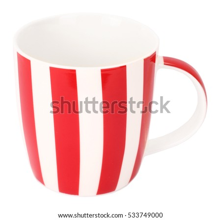 Lovely red white striped mug