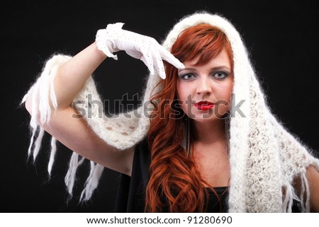 lovely redhead - white glove warm scarf Young beautiful red haired woman.