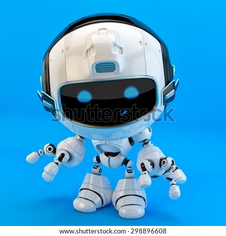 Lovely robotic toy / Lovely cute robotic toy on bright blue background - stock photo