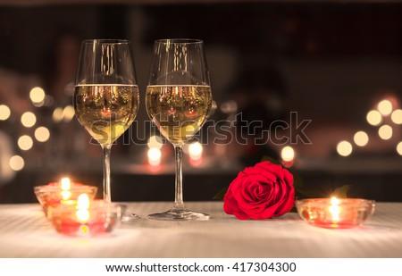 Lovely romantic dinner.  - stock photo