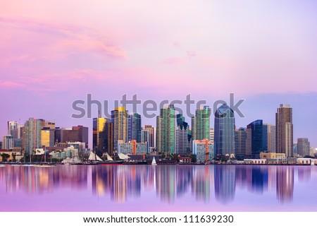 Lovely San Diego skyline at sunset - stock photo