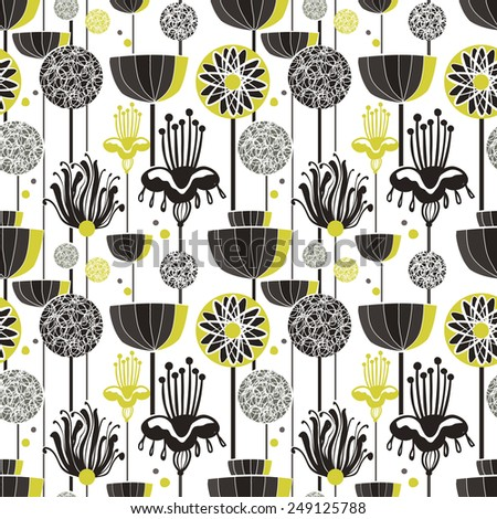 lovely seamless pattern in doodle style over white - stock photo