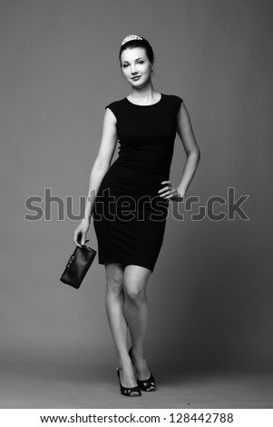 Lovely sexy girl/Black and white portrait of stylish girl on Beauty and Fashion theme