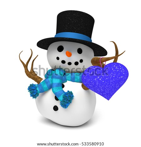 lovely snowman:  cute happy snowman with glittery hat and a blue striped scarf holding a blue glittery heart (3D illustration isolated on a white background)
