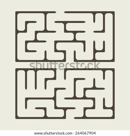 lovely square maze isolated on beige background