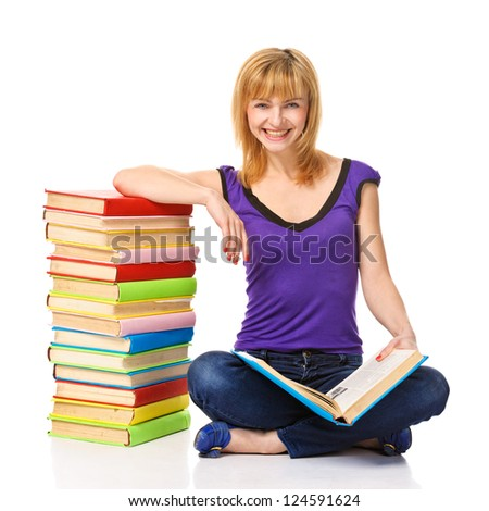 Lovely student with a stack of books. Isolated on white