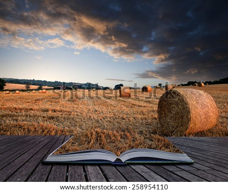Lovely sunset golden hour landscape of hay bales in field in English countryside conceptual book image - stock photo