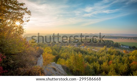 Lovely sunset is touching horizon - stock photo