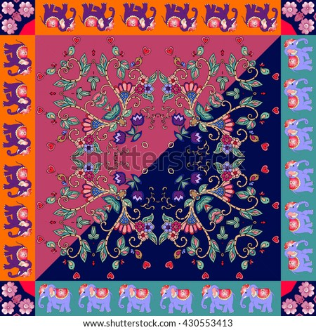 Lovely tablecloth. Floral kerchief. Bandana print or silk neck scarf with beautiful ornament from flowers, birds and elephants.