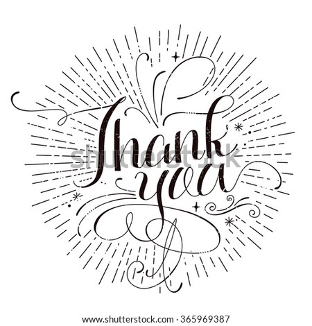 lovely Thank you calligraphy design in monochrome