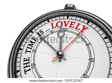 Lovely time red word on concept clock, isolated on white background
