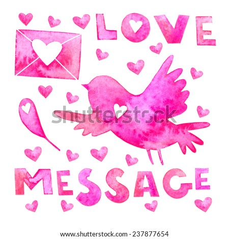 Lovely Valentine's Day card with bird, envelope, hearts love message lettering. Watercolor Valentine's day card. Love message card. - stock photo