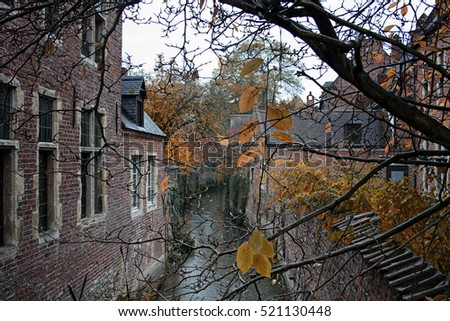 Lovely view of a flemish river with old houses