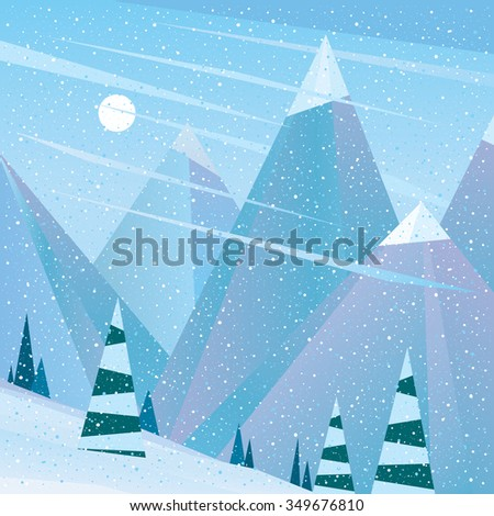 Lovely view of the ski area - serenity concept. Raster version of illustration - stock photo