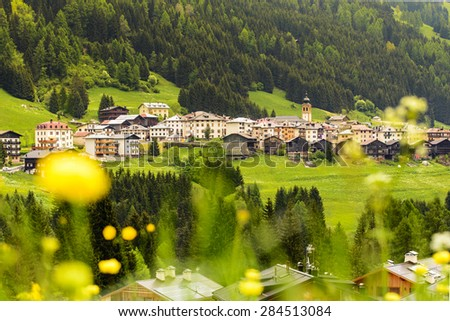 Lovely village in Dolomite, Italy - stock photo