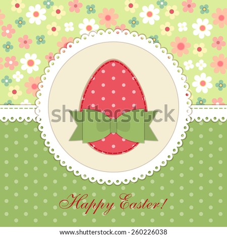 Lovely vintage Easter card with patch fabric applique of egg in shabby chic style - stock photo