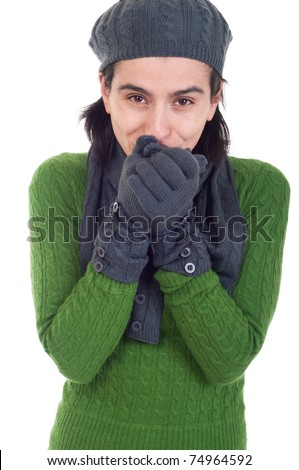 lovely winter woman portrait with scarf, gloves and hat (isolated on white background)