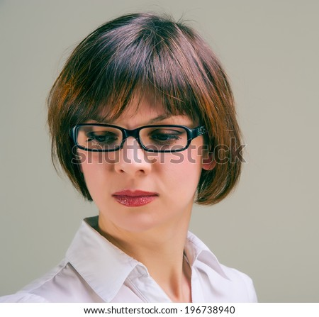 Lovely woman businesswoman in glasses looking , portrait, close up