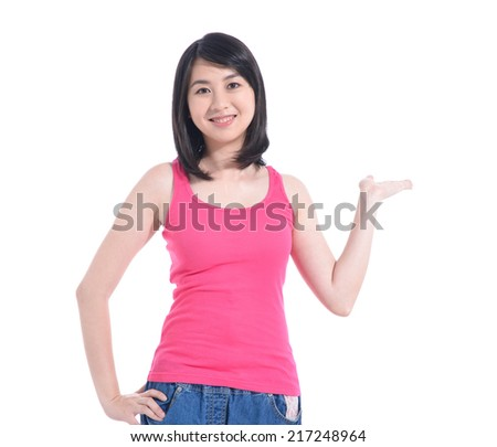 Lovely woman holding something imaginary