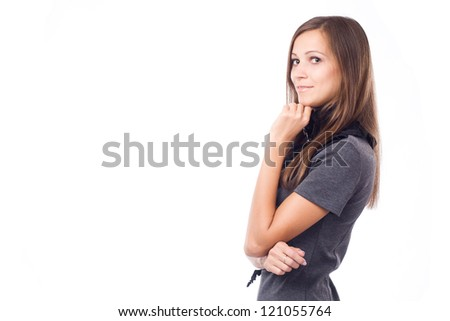 Lovely woman in elegant dress against white background