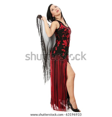 Lovely woman in evening dress isolated on white - stock photo