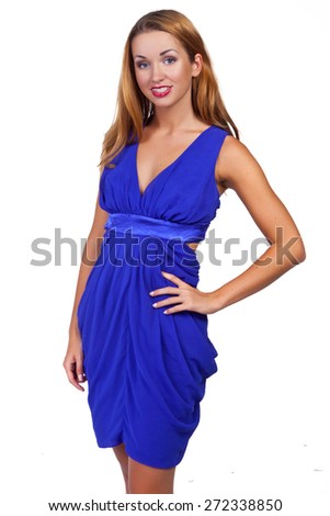 lovely woman in romantic dress. White background - stock photo