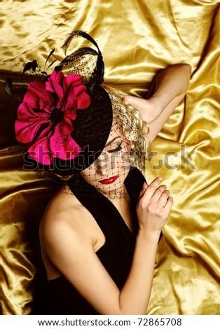 Lovely woman retro portrait - stock photo