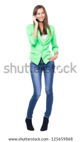 Lovely woman talking on mobile phone, white background - stock photo