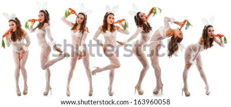 Lovely women in rabbit costume with carrots - stock photo
