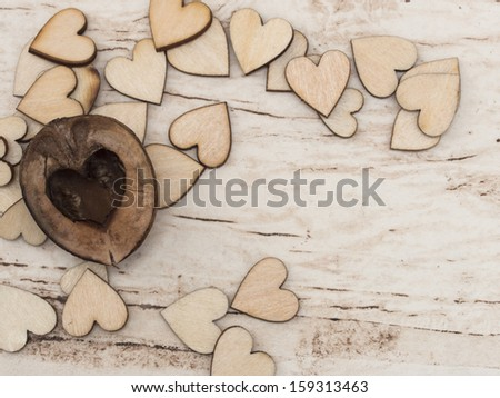 lovely wooden hearts with place for the text