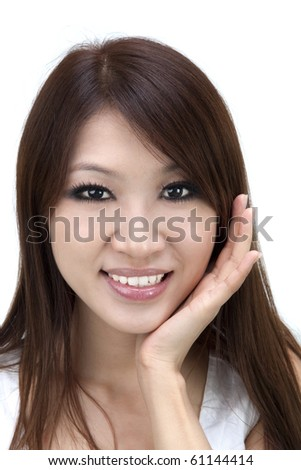 Lovely young female smiling on white background