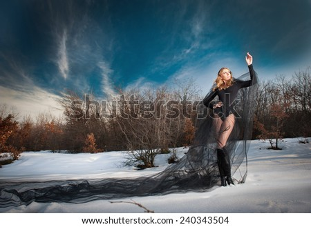 Lovely young lady posing dramatically with long black veil in winter scenery. Blonde woman with cloudy sky in background - outdoor shot. Glamorous female in nature - gothic style - stock photo