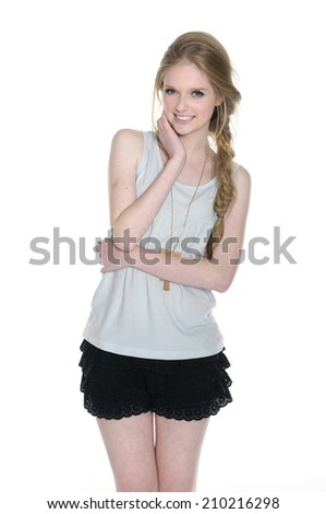 Lovely young woman in casual style clothing and shorts - stock photo