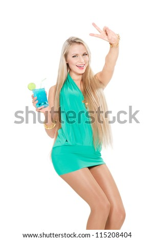 lovely young woman with cocktail showing victory sign over white background - stock photo