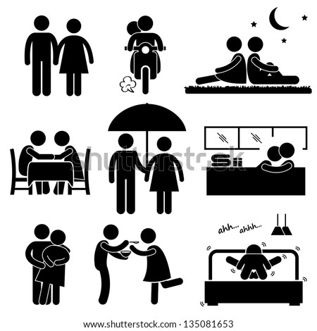 Lover Couple Boyfriend Girlfriend Sweetheart Relationship Activity Stick Figure Pictogram Icon