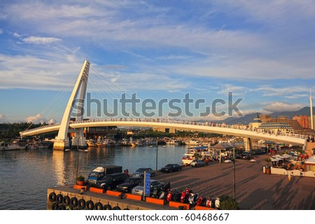 Lover's Bridge ,Tamshui Fisherman's Wharf, Taipei, Taiwan (taiwan famous scene) - stock photo