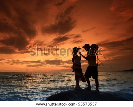 Lover with Romantic Scene on the Royong Beach, Thailand at dusk - stock photo