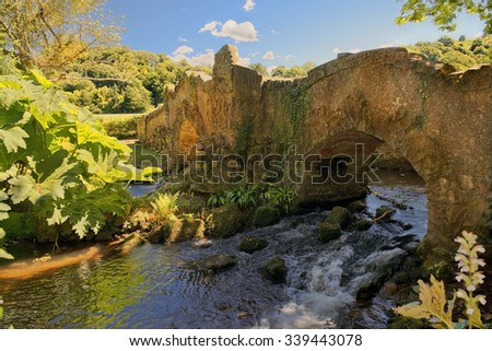 Lovers Bridge over River Avill, the Mill Walk, Dunster Castle in Somerset, England - stock photo