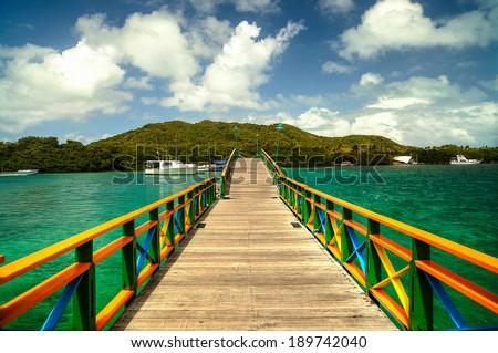 Lovers Bridge - Providence Island, Colombia - stock photo