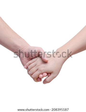Lovers couple holding hands on white background