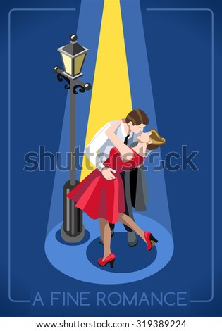 Lovers Couple Romantic Love Concept People Unique Isometric Realistic Poses palette 3D Flat Illustration True Love Paris French Kiss Under Streetlight JPEG JPG Image Drawing Object Picture Graphic Art - stock photo
