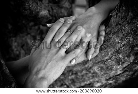 Lovers hands with wedding rings - stock photo