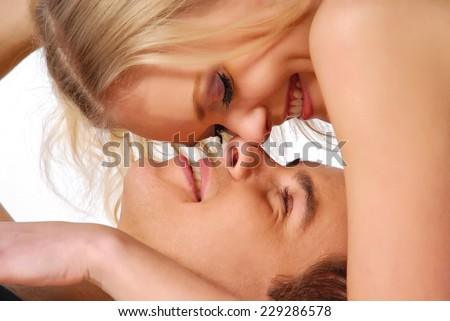 Lovers in passion - stock photo