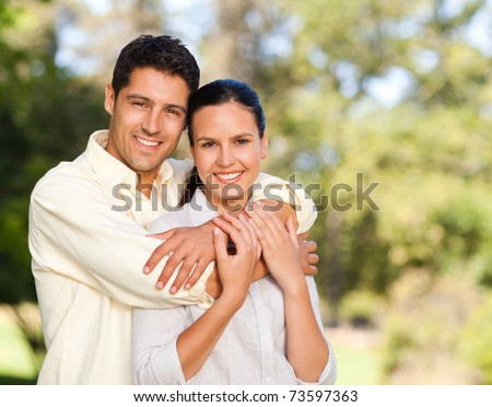 Lovers in the park - stock photo
