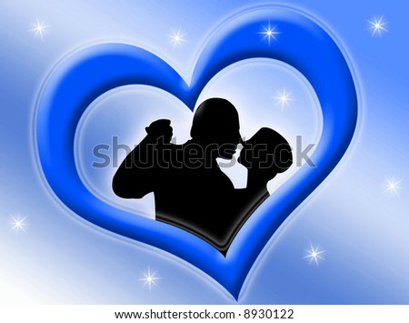 Lovers inside a blue heart on a starry background